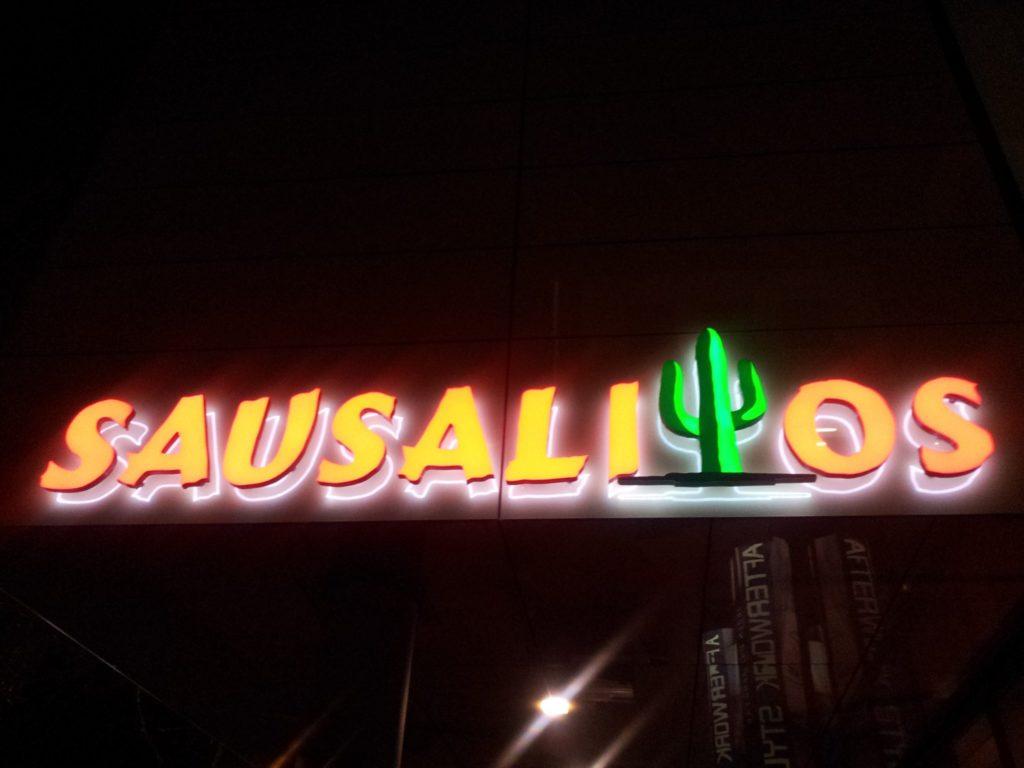Bild von der Leuchtreklame des Sausalitos Stuttgart