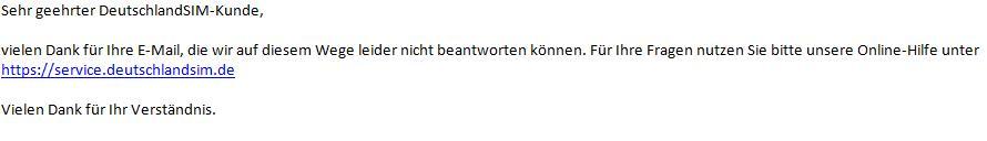 Screensho der folgenden E-Mail, dass per E-Mail nicht geantwortet werden kann