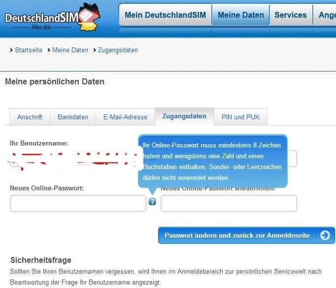Screenshot vom Hinweis darauf, dass das Onlinepasswort bei DeutschlandSIM keine Sonderzeichen beinhalten darf