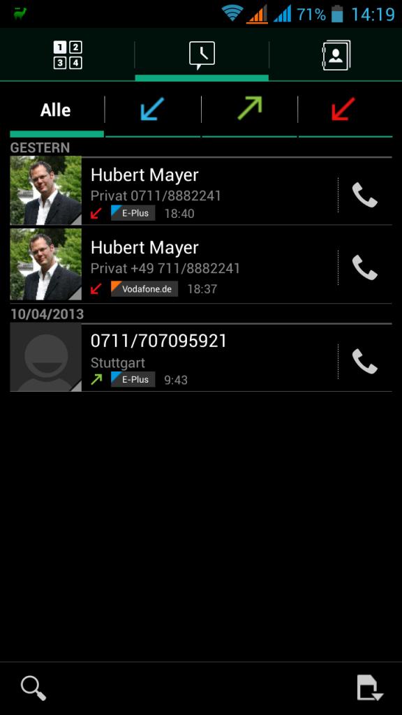 Screenshot nach den beiden Anrufversuchen