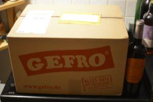 Bild vom mir für den Produkttest gelieferten Paket von Gefro