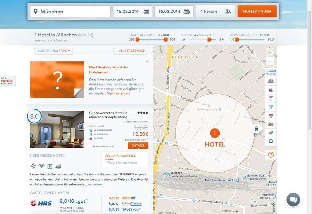 Unten auf dem Screenshot werden die Bewertungen diverser Buchungsportale (HRS, Hotel.de, Holidaycheck und Trustyou) angezeigt