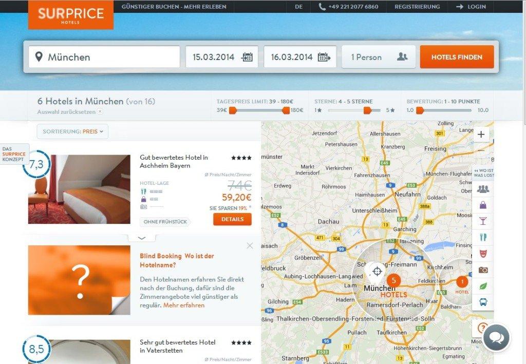 Screenshot der SURPRICE HOTELS Website mit der Anzahl der zur Verfügung stehenden Hotels in München (6) bei meiner Buchung am 12.03.