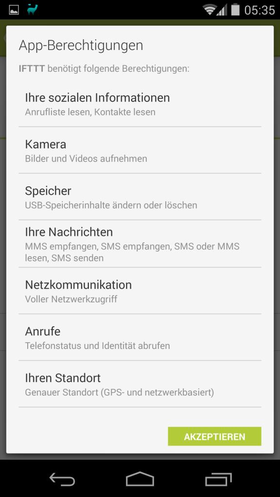 Berechtigungen für IFTTT (Android App)