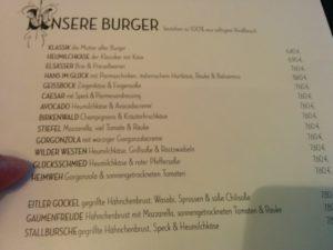 Der Fleischteil der Speisekarte im Hans im Glück Berlin