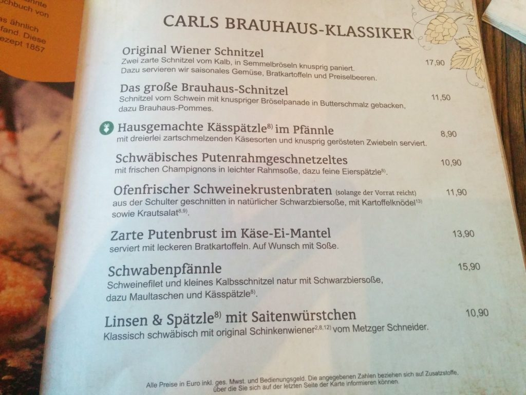 Vegetarische Gerichte mit Symbol auf der Speisekarte im Carls Brauhaus Stuttgart