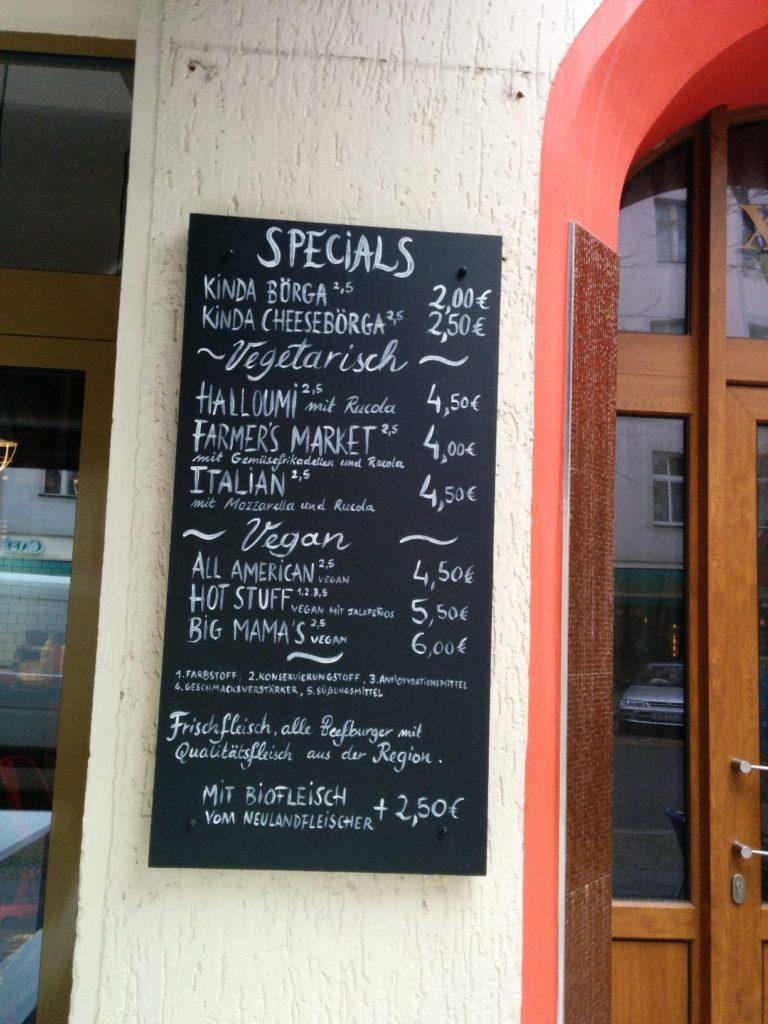 Speisekarte Teil 1 im Burgers Berlin Charlottenburg