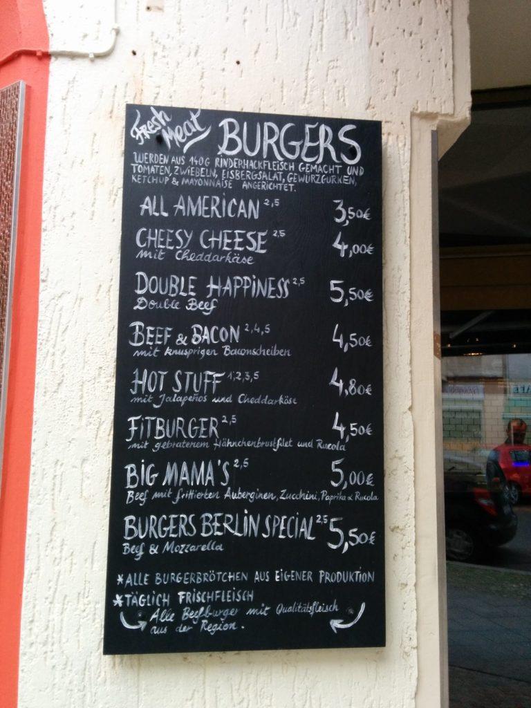Speisekarte Teil 2 im Burgers Berlin Charlottenburg / Pestalozzistrasse