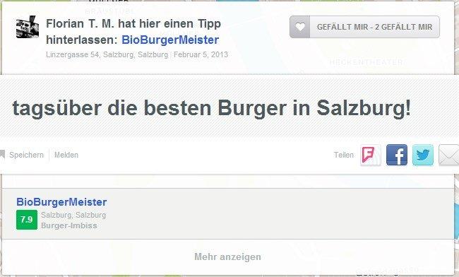 Screenshot aus der Webversion von Foursquare zum BioBurgerMeister Salzburg
