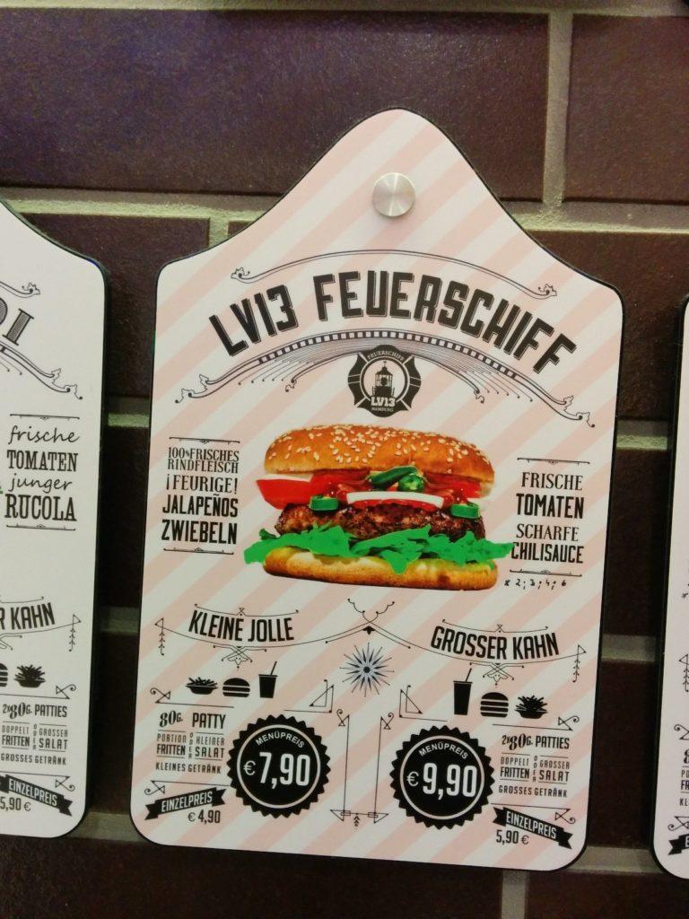 Von der Speisekarte der LV13 Feuerschiff Burger im Wittkoop