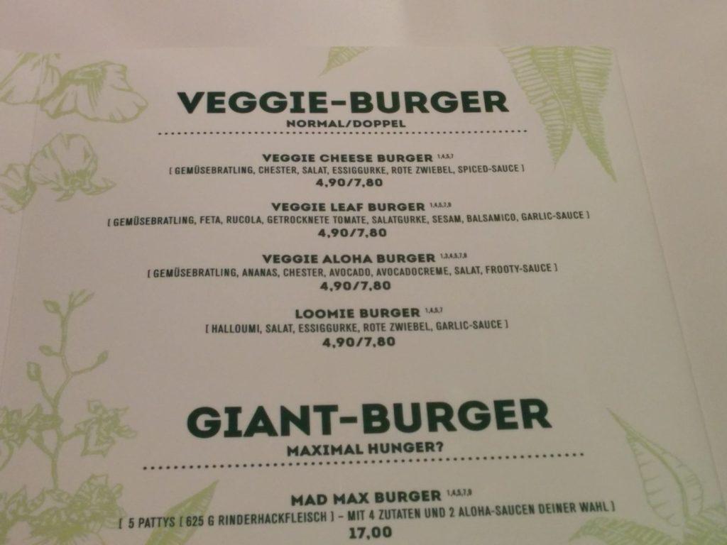 Burger Auswahl im Aloha Burger - vegetarische Burger im Aloha Burger Stuttgart