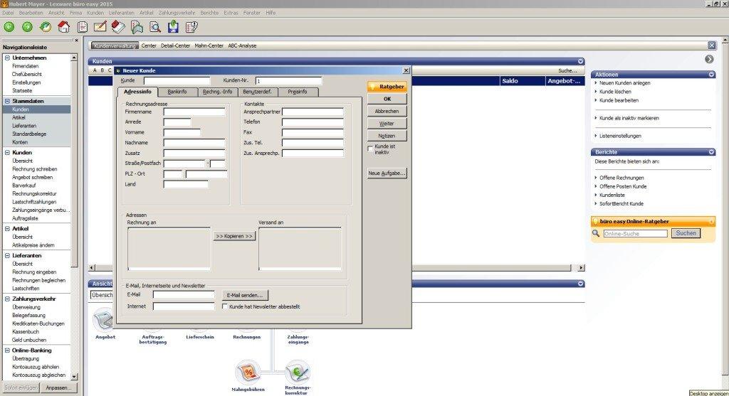 Kundenanlage in der Buchhaltungssoftware büro easy von Lexware