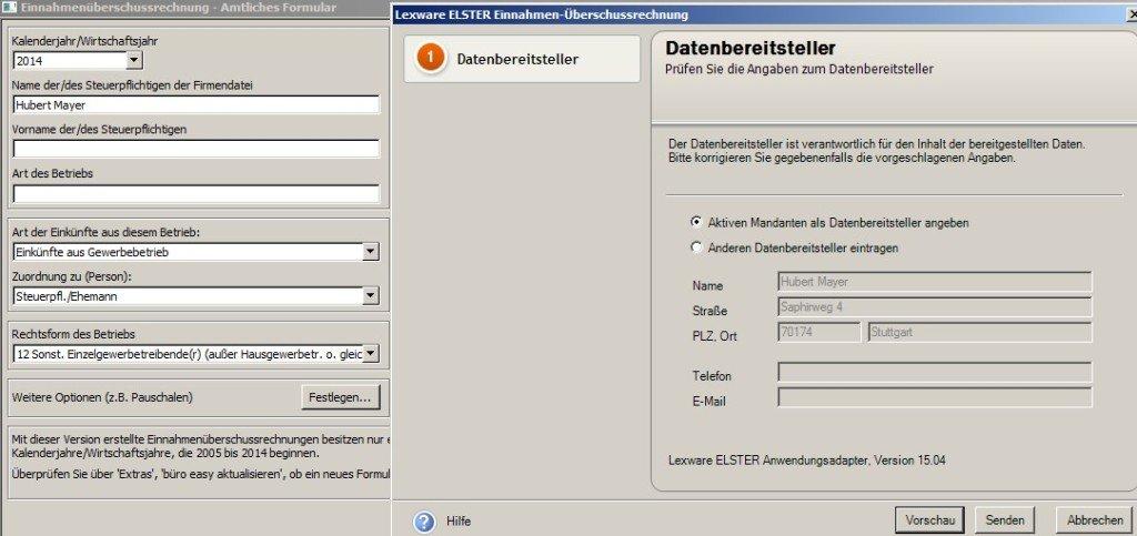Datenübertragung an Elster