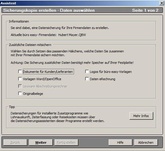 Datensicherung des büro easy