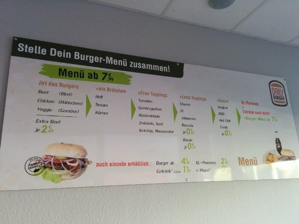 Speisekarte und Bestellhilfe im Daily Burger Stuttgart Vaihingen