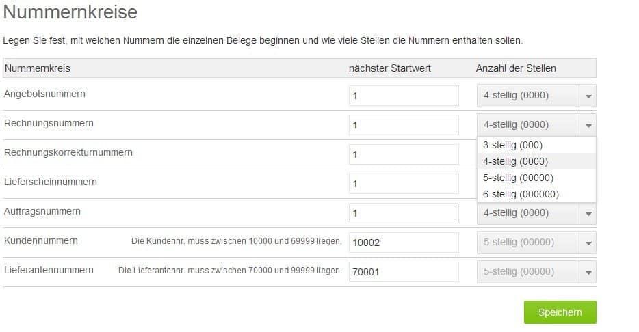 Auswahl Nummernkreise in Lexoffice für Rechnungen, Angebote, Lieferscheine, etc.