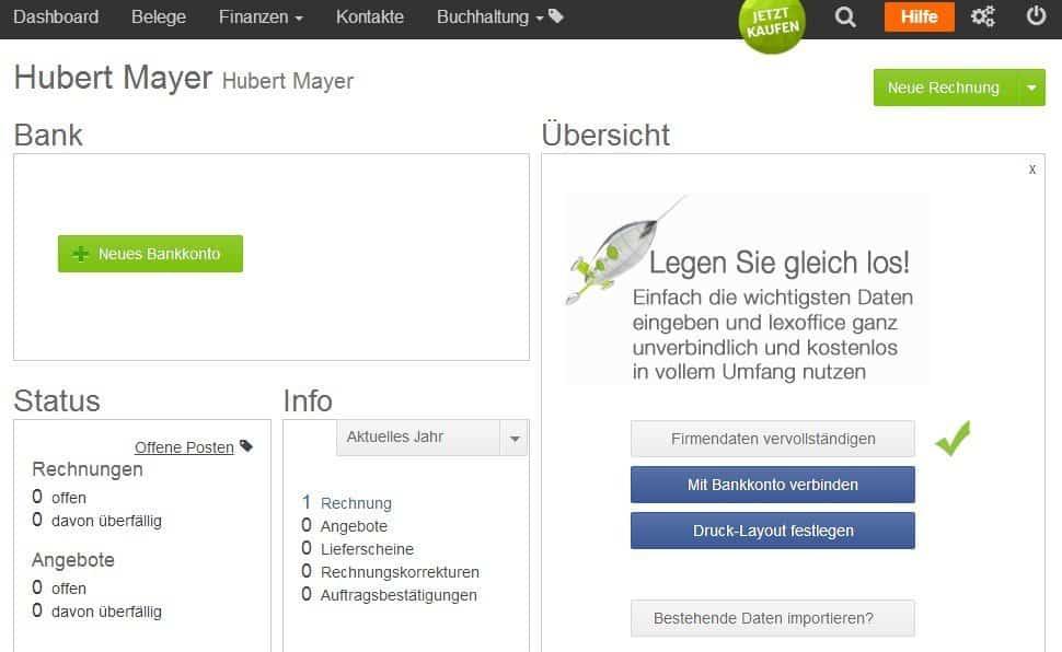 Im Dashboard von Lexware ist zu sehen, dass eine Rechnung vorhanden ist und keine offenen Posten bestehen