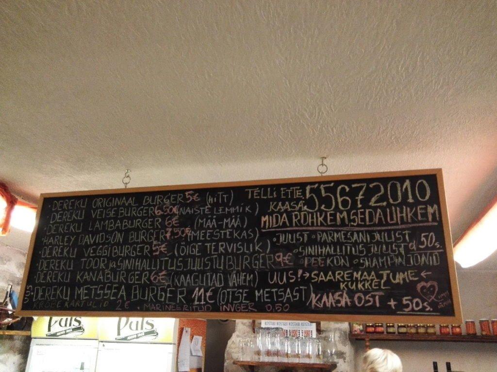 Burger Auswahl im Dereku Burger Tallinn