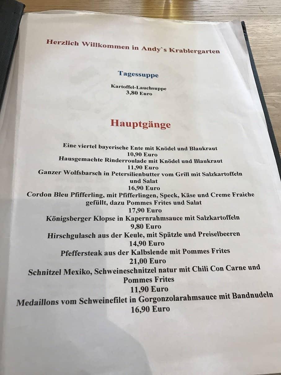 Tageskarte vom 26.02.2017 in Andy's Krablergarten München