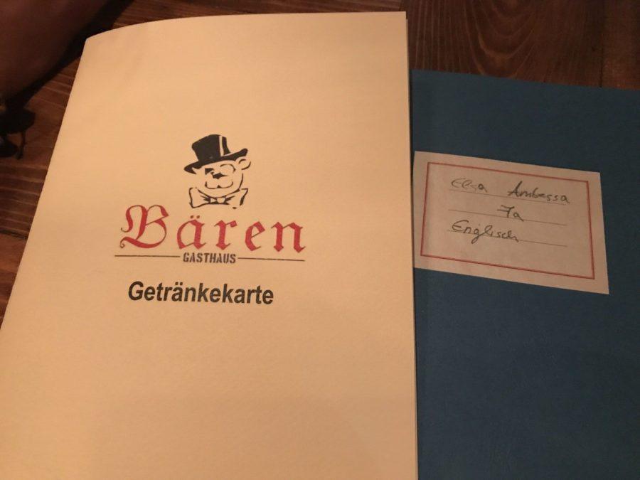 Getränkekarte und Speisekarte im Bären Stuttgart