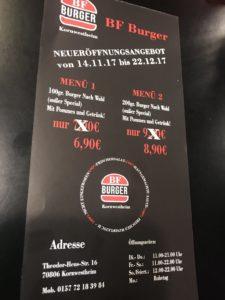 Speisekarte des BF Burger in Kornwestheim Teil 2