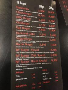 Speisekarte des BF Burger in Kornwestheim Teil 1