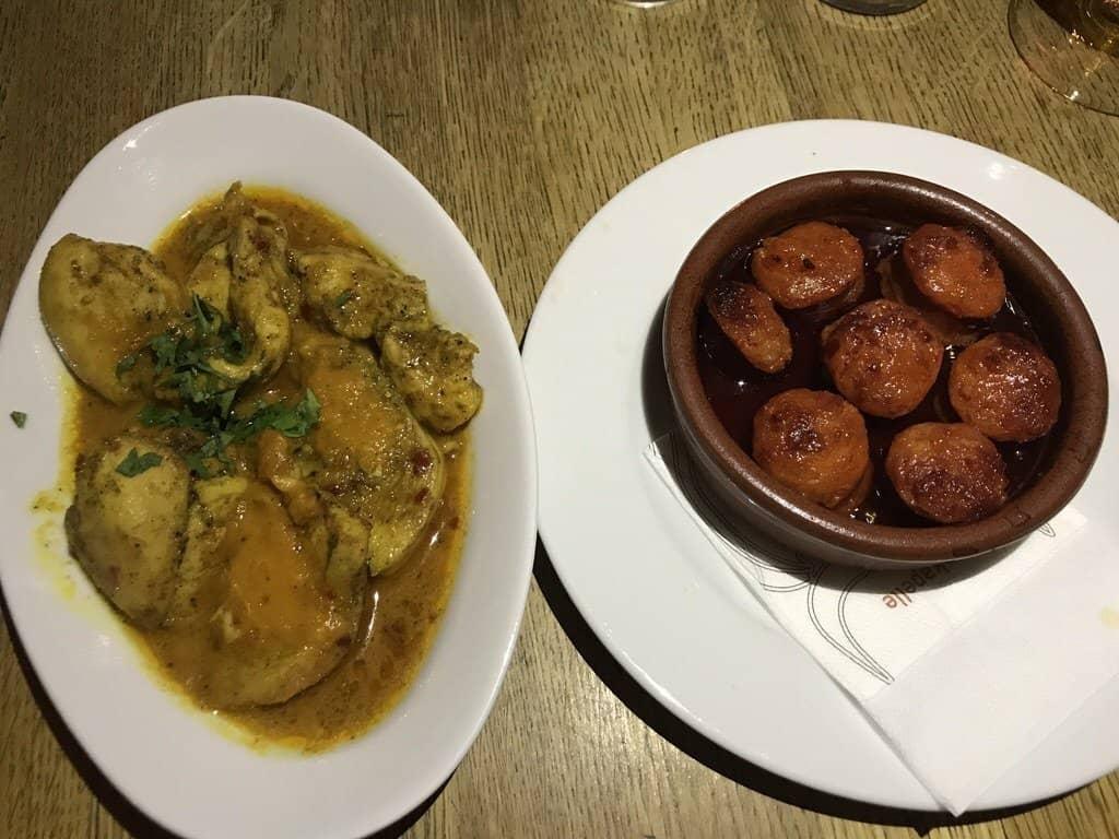 Chili Chicken und Chorizo im Tapas Restaurant rote Kapelle in Stuttgart