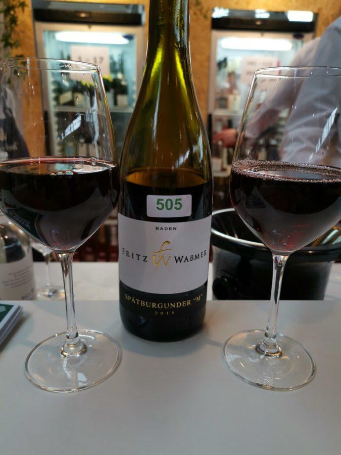 Spätburgunder vom Weingut Fritz Waßmer in der Vinothek auf der Slow Food 2019